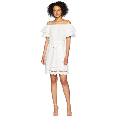 B Collection by Bobeau Diem Off Shoulder Eyelet Dress (White) Women