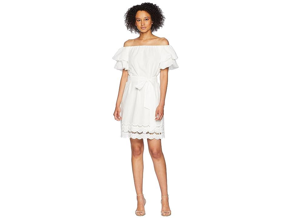 B Collection by Bobeau Diem Off Shoulder Eyelet Dress (White) Women