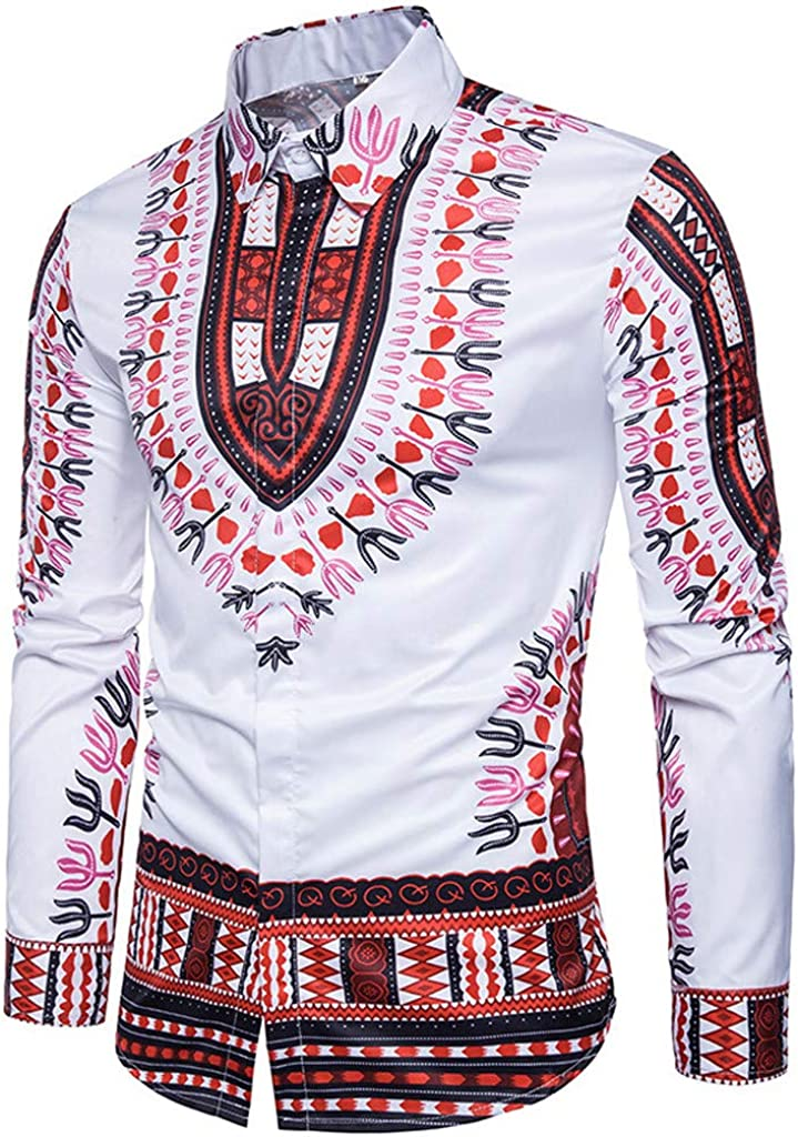 WUAI-Men Button Down Vintage Dashiki African Ethnic Printed Long Sleeve Dress Shirt