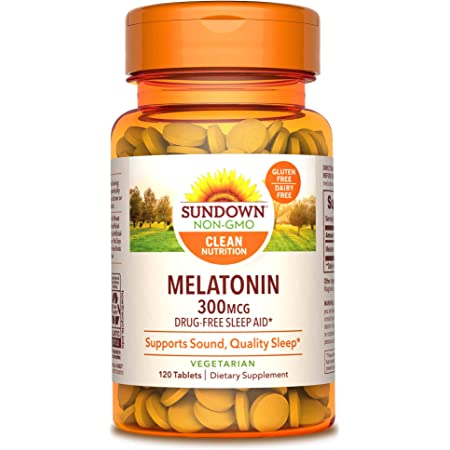 Sundown Melatonin 300 mcg, 120 Tablets (Packaging May Vary) Drug-Free Sleep Aid* Vegetarian, Non-GMOˆ, Free of Gluten, Dairy, Artificial Flavors