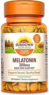 Sundown Melatonin 300 mcg, 120 Tablets (Packaging May Vary) Drug-Free Sleep Aid* Vegetarian, Non-GMOˆ, Free of Gluten, Dai...