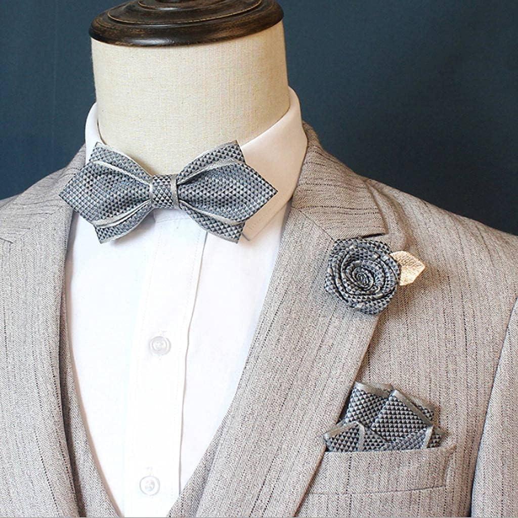 NSXKB Men's Bow tie Suit Suit Pocket Square Rose Flower Brooch Wedding Groom Groomsmen Bow tie Korean Collar Flower (Color : E)
