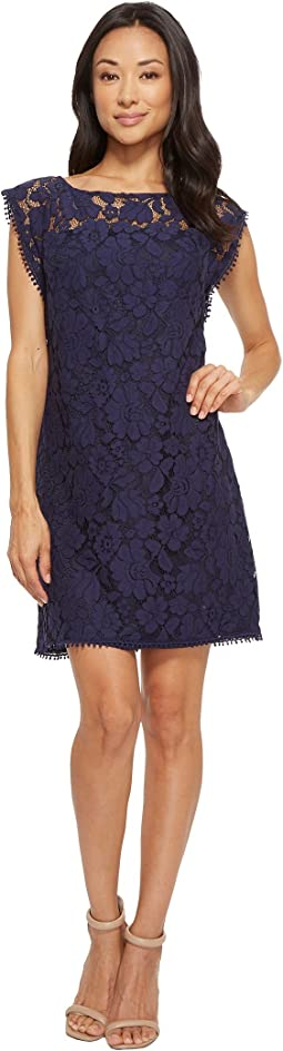 Lace Dress with Shoulder Trim
