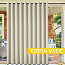 cololeaf Blackout Outdoor Curtains for Patio - Indoor Outdoor Curtains Water Resistant Thermal Insulated Privacy Protect Grommet Shade Drapes for Porch - Beige 100