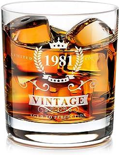 1981 40:e födelsedagspresent för män, handgjord gammaldags whiskyglas behållare, whiskyälskare present till pappa, mamma, ...