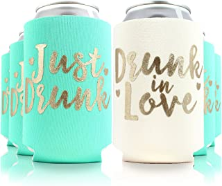 11pc or 6pc Set Drunk in Love & Just Drunk Can Coolers for Bachelorette, Bridal Shower, Wedding. 4mm Thick Bottle Sleeves, Can Coolies, Beverage Insulators (11pc Set, Aqua & Gold)