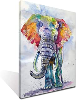 iFine Art Wall Art Inner-Framed Oil Paintings Printed on Canvas Modern Artwork for Home Decorations and Easy to Hang for Living Room, Bedroom-Colorful Elephant II