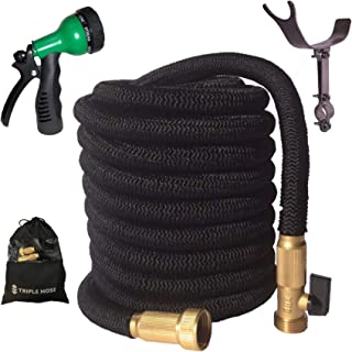 2019 Expandable Garden Hose | Strongest Expanding Triple Layer Core | Durable Nylon | Solid Brass Fittings/Shut Off Water Valve | 8 Way Nozzle | Stainless Steel Holder | Gift/Storage Bag (100, Black)