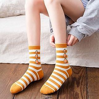 CYMTZ, 5 Pares/Paquete De Calcetines De Algodón De Frutas Jacquard para Mujer Calcetines Divertidos Bonitos De Aguacate A Rayas Nuevo Diseño