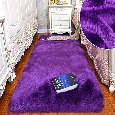Shaggy Soft Faux Sheepskin Fur Area Rugs Floor Mat Luxury Bedside Carpet for Bedroom Living Room (Purple,24ft)