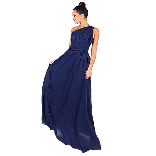 45039b233a4904 KRISP Damen Elegante Einträgerkleider Chiffon Abendkleid
