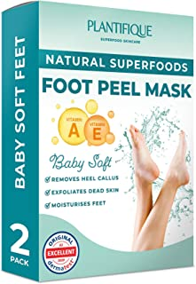 Dermatologically Tested - Strawberry Foot Peel Mask - 2 Pairs - Effective For Cracked Heels Repair, Remove Dead Skin, Call...
