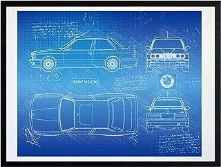 DolanPaperCo #380 BMW M3 E30 (1986-92) Art Print, da Vinci Sketch - Unframed - Multiple Size/Color Options (16x20, Blueprint)