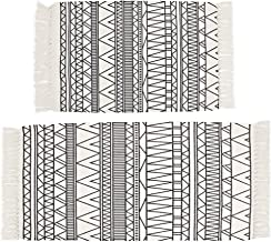 HEBE Cotton Area Rug Set 2 Piece 2'x3'+2'x4.2' Machine Washable Cotton Throw Rug Hand Woven Cotton Rug with Tassels Cotton...