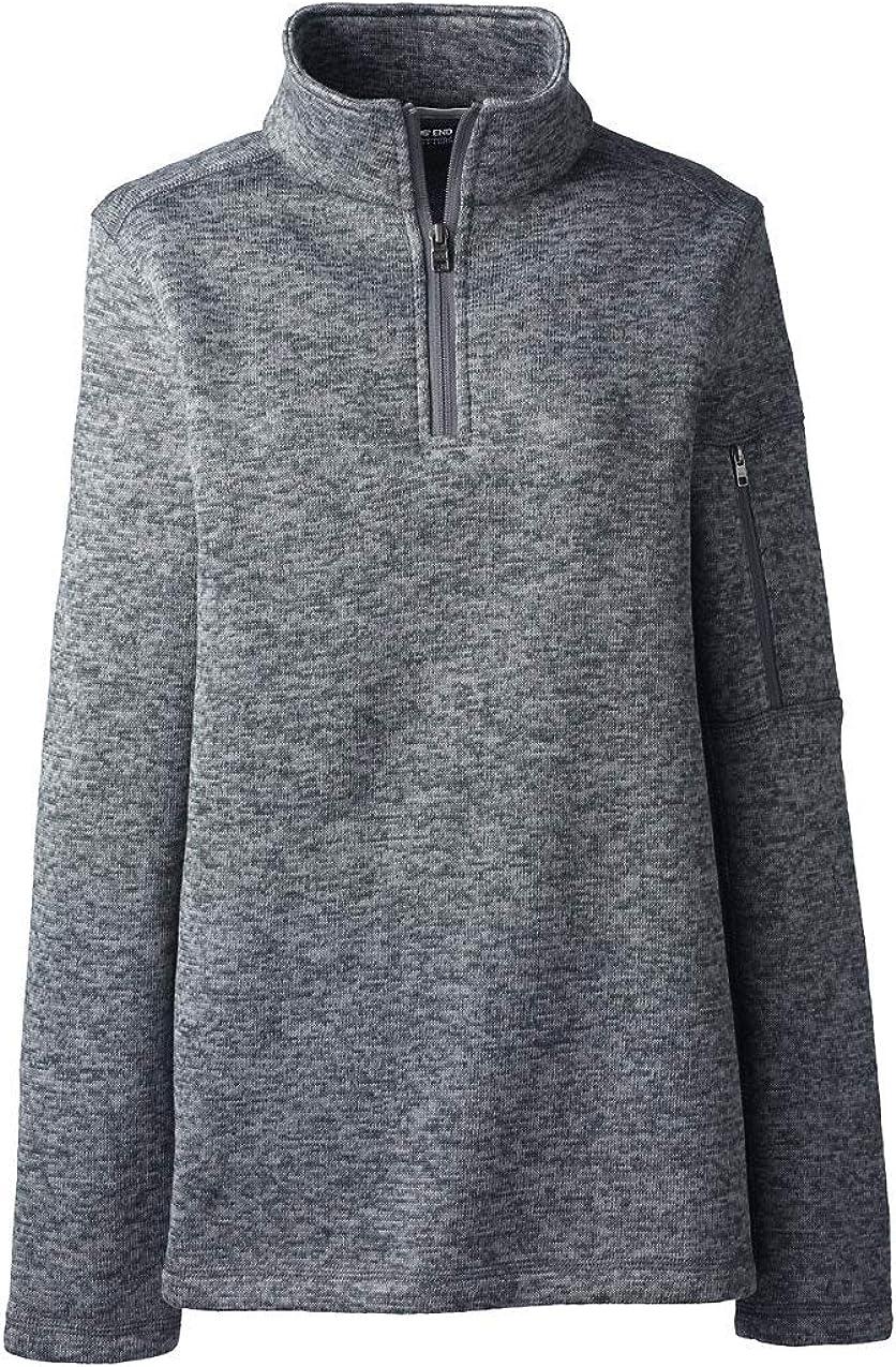 Lands' End Women's Sweater Fleece Quarter Zip Pullover
