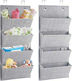 mDesign Soft Fabric Wall Mount/Over Door Hanging Storage Organizer - 4 Large Pockets for Child/Kids Room or Nursery, Hooks Included - Textured Print, 2 Pack - Gray