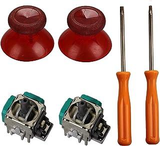 Controller Thumbsticks Grips,eJiasu 2 Piece 3D Joystick Wireless Controller Rocker+ T8/T10 Screwdrivers Tool+ 2 Pieces Thumbsticks Replacement Parts for Xbox One Controller(One Set Red)