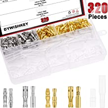 DYWISHKEY 320Pieces 3.9mm Brass Male and Female Bullet Terminals Wire Connector Block with Insulating Sleeves for Car Truck Motorcycle Bike
