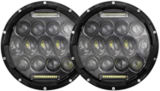 AllExtreme EXLHLS2 7inch Round Ring 13 LED Headlight with Turn Signal Lights for Jeep Wrangler (12-30V, 75W, Pack of 2)