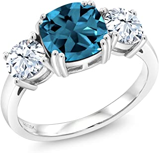 Gem Stone King London Blue Topaz 925 Sterling Silver Meghan Ring 4.24 Ct Cushion Gemstone Birthstone Available in size 5, 6, 7, 8,