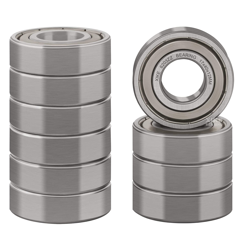 XiKe Regular store Regular dealer 10 Pcs 6203ZZ Double Pre-Lu Bearings Seal Metal 17x40x12mm