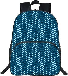 Oobon Kids Toddler School Waterproof 3D Cartoon Backpack, Horizontal Zigzags Chevron Pattern in Dark and Light Colors Geometrical, Fits 14 Inch Laptop