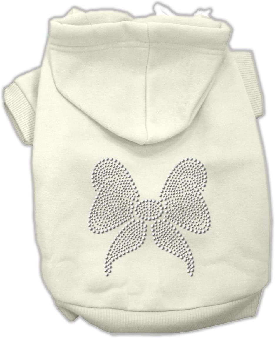 Pink Mirage Pet Products 8-Inch Rhinestone Bow Hoodies X-Small