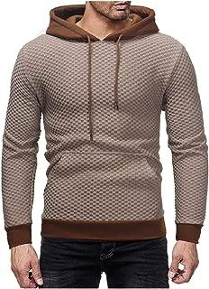 MogogoMen Pure Hood Plaid Kangaroo Pocket Outwear Pullover Sweatshirts