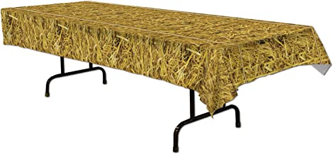 Beistle 54533 Straw Tablecover, 54 by 108-Inch, Multicolor