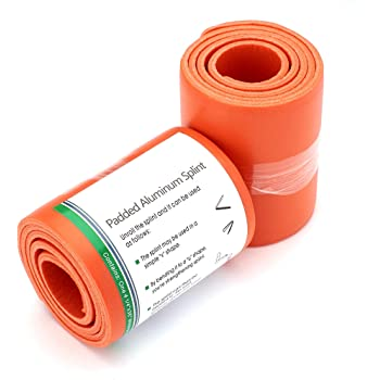 "Universal Padded Aluminum Splint 36"" Rolled/Easy Storage/Sports, Home, First Aid (Orange)"