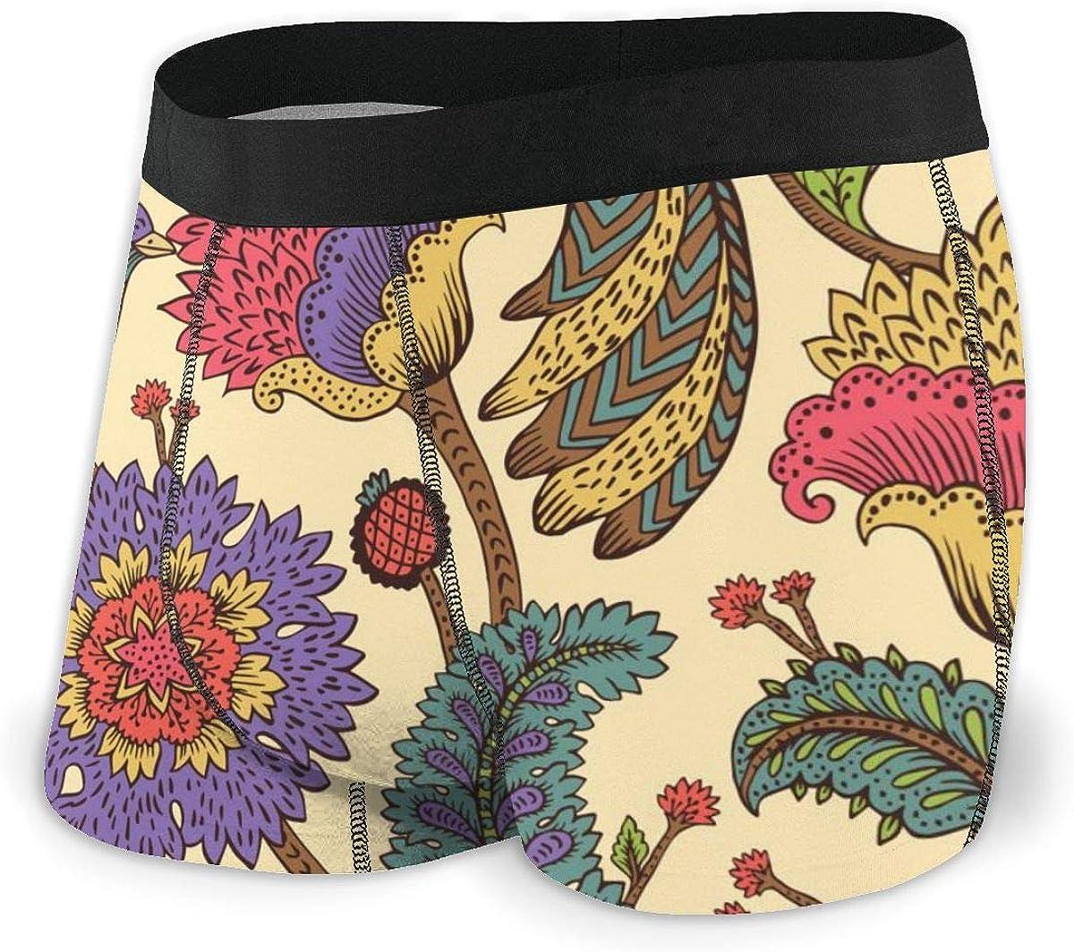 Randolph Wordsworth Mens Boxer Briefs Paisley Fantasy FlowersUnderwear Low Rise Trunks Boys Underpants