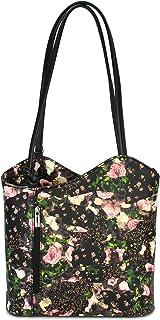 Belli italienische Ledertasche Backpack Classic 2in1 Damen Rucksack Leder Handtasche Schultertasche - 28x28x8 cm (B x H x T)