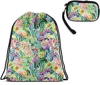 Travel Swim Drawstring Backpack Shoulder Backpack - Cactus Succulents Drawstring Rucksack, Large Water Resistant String Bag + Clutch Travel Purse Handbag
