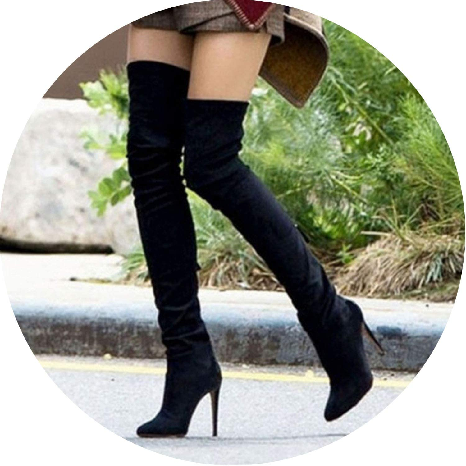 Stretch Suede Leather Thigh High Heels Boots Women Stiletto Heels Sexy Over The Knee Boots Female