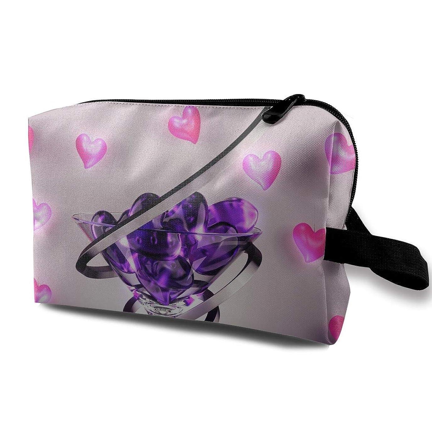 提供する織る愛レディース 化粧ポーチ トラベル収納ポーチ トイレタリーバッグ ワイングラスプリント コスメ メイクポーチ ハンドバッグ 大容量 化粧品 鍵 小物入れ 軽い