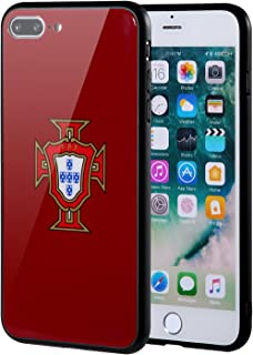 The Mass iPhone 8 Plus Case,iPhone 7 Plus Case,Tempered Glass Case with Custom Designs Back and Shockproof Bumper Cover for Apple iPhone 7/8 Plus (Portugal National Soccer Team)