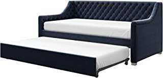 Little Seeds Ambrosia Diamond Tufted Upholstered Design Daybed and Trundle Set, Twin Size Frame, Blue