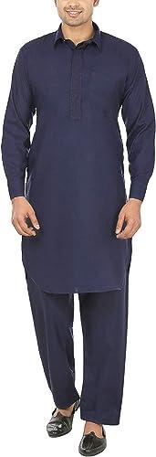 Royal Kurta Hommes's Tericott Standard Pathani Suit Salwar Set (38, Navy)