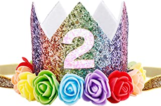 Maticr Baby Girl Glitter 1 2 3 First Birthday Rainbow Flower Crown Hat Floral Tiara Headband for Photo Prop (Number 2)