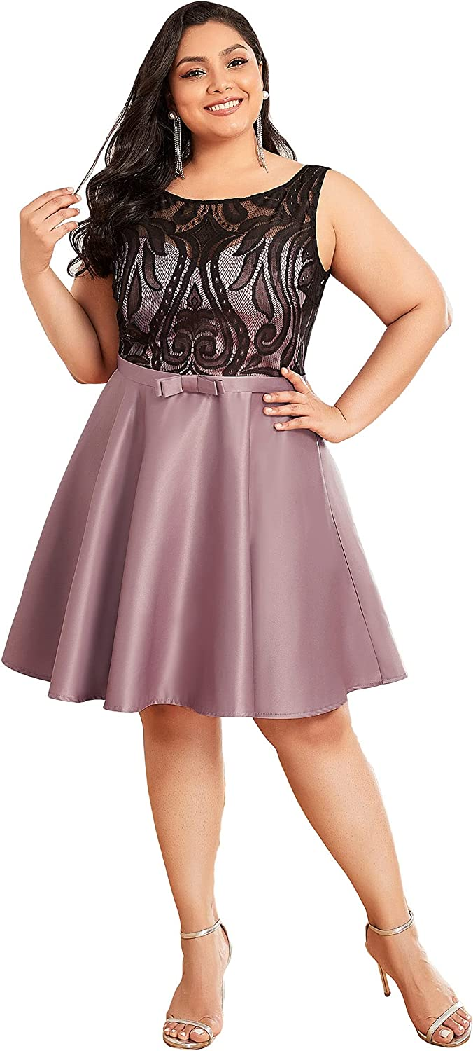Ever-Pretty Women's Plus Size Sleevelss Lace Above Knee A Line Satin Evening Dress for Women 40415-PZ