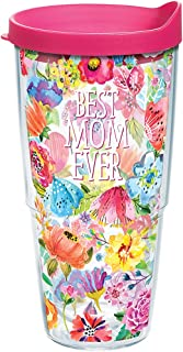 Tervis 1286452 Best Mom Ever Floral Tumbler with Wrap and Fuchsia Lid 24oz, Clear
