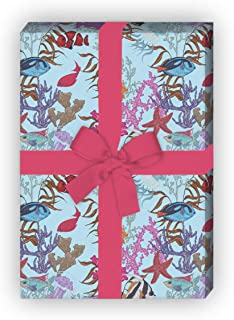 Teenager 4 B/ögen zum Einpacken f/ür Geburtstage Kinder blau Kartenkaufrausch Cooles Shark Geschenkpapier Set mit Hai Fischen: Hello f/ür h/übsche Geschenk Verpackung 32 x 48cm