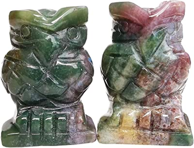 Gemgogo 2 Pcs India Agate Crystals and Healing Stones, Pocket Carved Owl Figurines Collectibles 1.5 Inches Room Decor Gemstone
