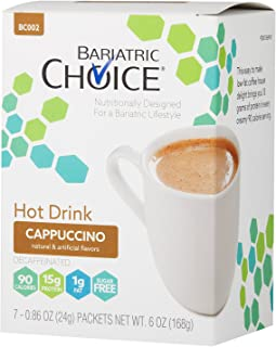 Bariatric Choice High Protein Drink/Instant Low-Carb Hot Drink Mix - Cappuccino (7 Servings/Box) - Low Carb, Sugar Free, Low Fat