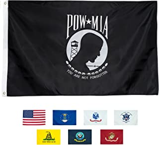 Front Line Flags POW MIA Flag 3x5 | Long Lasting Nylon Embroidered Emblem with Quadruple Stitched Fly End 100% Guarantee | Premium Quality | US Military Banner for Indoor or Outdoor Use