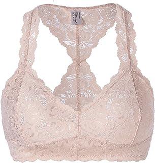2e58f97bff049 FOSHANOMOA Women s Floral Halter Lace Bralette Unpadded Wireless Lingerie Bra  Crop Top…