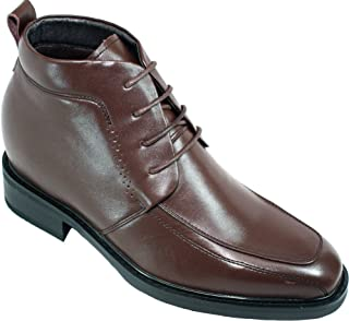 Men's Invisible Height Increasing Elevator Shoes - Brown Leather Lace-up Dress Formal Ankle Boots - 3 Inches Taller - K288011