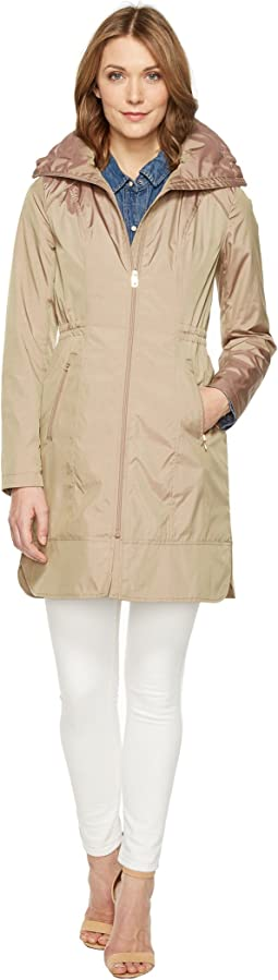 "Cole Haan 36"" Single Breasted Rain Jacket with Packable Hood"