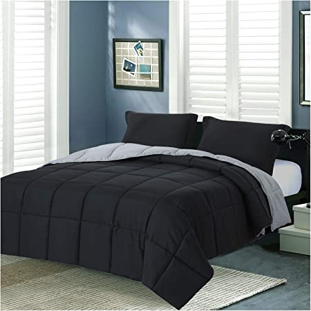 Homelike Moment Lightweight Comforter Set Queen Reversible All Season Down Alternative Bed Comforter Set Summer Blanket 3 Piece - 1 Comforter 2 Pillow Shams Full / Queen Size Black / Light Grey