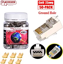 RJ45 CAT6a Cat6 Connector with Grounding Buckle Gold Plated 8P8C Pass Through Shield Plug 50PC